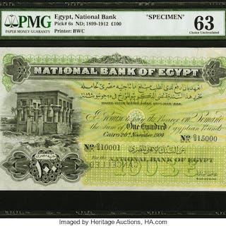 Egypt National Bank of Egypt 100 Pounds 20.11.1904 Pick 6s Specimen