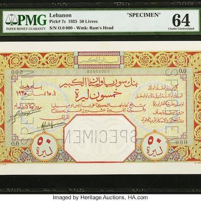 Lebanon Banque de Syrie et du Grand-Liban 1925 50 Livres Pick 7s Specimen