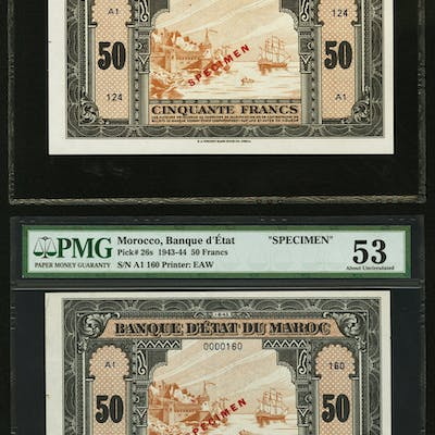 Morocco Banque d'Etat du Maroc 50 Francs 1.8.1943 Pick 26s Two Specimens
