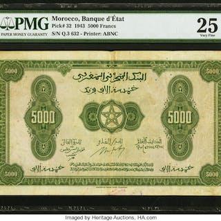 Morocco Banque d'Etat du Maroc 5000 Francs 1.8.1943 Pick 32 PMG Very
