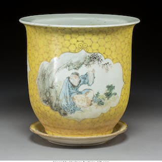 A Chinese Famille Rose Partial Gilt Porcelain Jardinière with Underplate