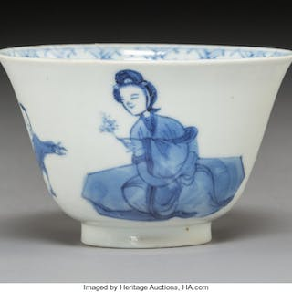 A Chinese Blue and White Porcelain Cup, Qing Dynasty Marks: Four-character