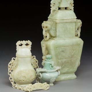 Three Chinese Carved Hardstone Vessels 10-1/4 x 5-3/8 x 2-3/4 inches
