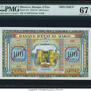 Morocco Banque d'Etat du Maroc 100 Francs 1.3.1944 Pick 27s Specimen