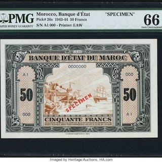 Morocco Banque d'Etat du Maroc 50 Francs 1.3.1944 Pick 26s Specimen