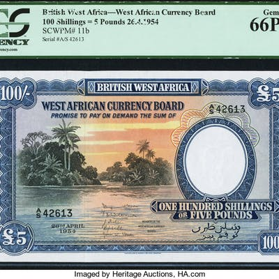 British West Africa West African Currency Board 100 Shillings = 5