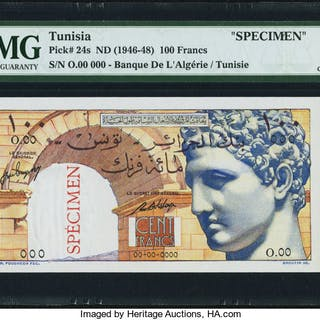 Tunisia Banque de l'Algerie / Tunisie 100 Francs ND (1946-48) Pick