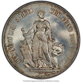 "Confederation ""Bern Shooting Festival"" 5 Francs 1885 MS65 PCGS,..."