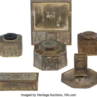 Eight-Piece Tiffany Studios Gilt Bronze Bookmark Pattern Desk Set
