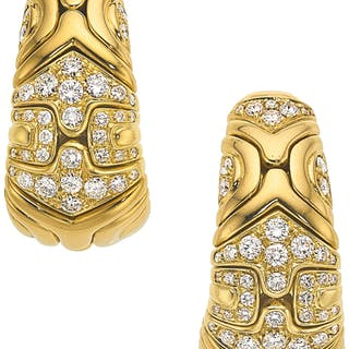 Diamond, Gold Earrings, Bvlgari ...