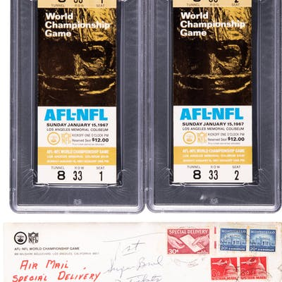 1967 Super Bowl I Full Tickets Lot of 2, PSA EX-MT 6.