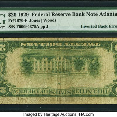 Fr. 1870-F $20 1929 Federal Reserve Bank Note. PMG Fine 12. ...