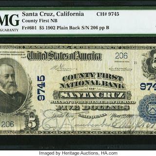 Santa Cruz, CA - $5 1902 Plain Back Fr. 601 County First NB Ch. #