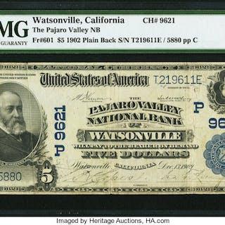 Watsonville, CA - $5 1902 Plain Back Fr. 601 The Pajaro Valley NB