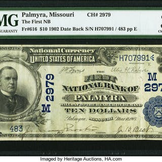 Palmyra, MO - $10 1902 Date Back Fr. 616 The First NB Ch. # (M)2979