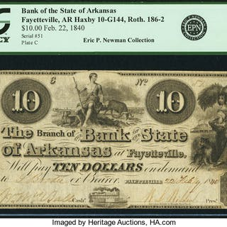 Fayetteville, AR - Bank of the State of Arkansas $10 Feb. 22, 1840