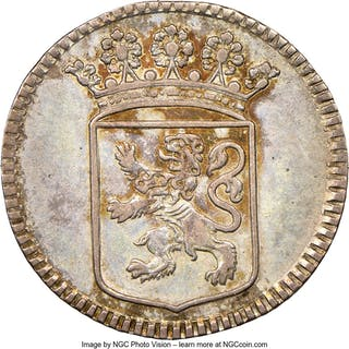 Dutch Colony. United East India Company Duit 1748 AU Details (Cleaned) NGC,...
