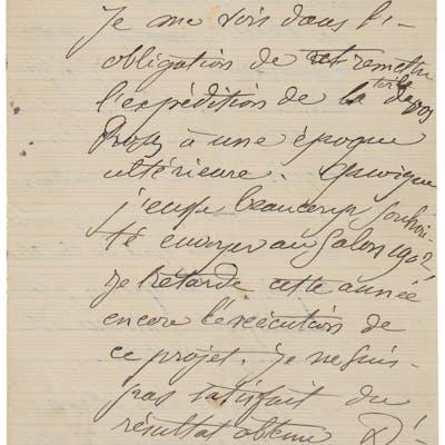 "Paul Cezanne. Autograph Letter Signed. ""Paul Cezanne."" Two pages (of"