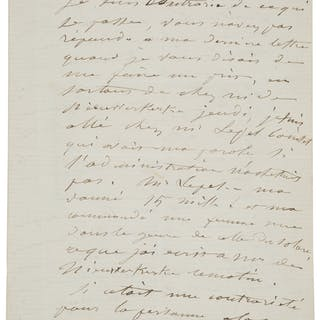 "Gustave Courbet. Autograph Letter Signed.  ""Gustave Courbet."" Two"
