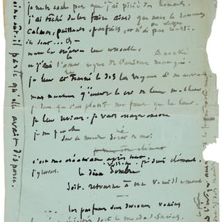 Victor Hugo. Autograph Manuscript. One page in French on the verso