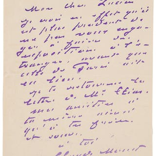 "Claude Monet. Two Autograph Letters Signed. ""Claude Monet."" ..."