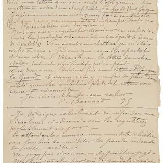 "Émile Bernard. Autograph Letter Signed. ""E. Bernard.""..."