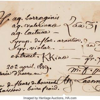 """René- Théophile Laënnec. Autograph Document Signed. """"R. Laennec, M.D."""" ..."""
