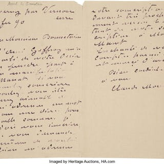 "Claude Monet. Autograph Letter Signed. ""Claude Monet.""..."