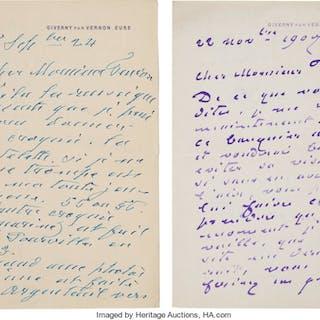 """Claude Monet. Two Autograph Letters Signed. """"Claude Monet.""""..."""