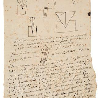 René-Antoine Ferchault de Réaumur. Autograph Manuscript....