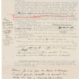 Henri Matisse. Copy of Typewritten Letter and Handwritten Corrections