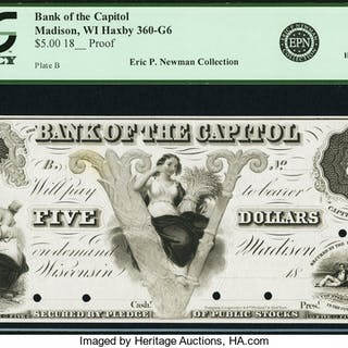 Madison, WI - Bank of the Capitol $5 18__ WI-360 G6 Proof. PCGS Choice