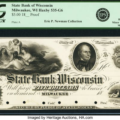 Milwaukee, WI - State Bank of Wisconsin $5 18__ WI-535 G6 Proof PCGS