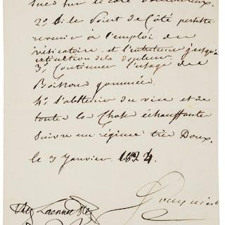 Rene Theophile Laënnec. Autograph Prescription Signed. [Paris], le