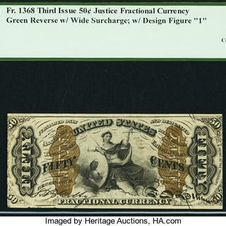 Fr. 1368 50¢ Third Issue Justice PCGS Choice About New 55PPQ. ...