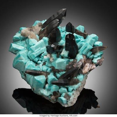 Microcline var. Amazonite & Quartz var. Smoky Jack Rabbit Mine, Crystal