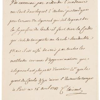 Alexis Claude Clairaut. Autograph Letter Signed. [Paris?]; April 26, 1727.  ...