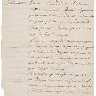 Alexis Claude Clairaut. Autograph Letter Signed. [Paris?]; May 6, 1741. ...