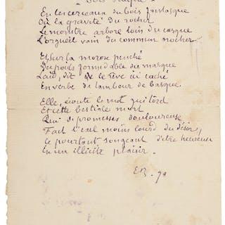 """Émile Bernard. Sonnet Gauguin. Autograph Poem Signed. """"EB."""" One page"""