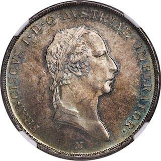 Lombardy-Venetia. Franz I of Austia Scudo 1824-M MS65+ NGC,...