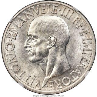 Vittorio Emanuele III 20 Lire 1936-R MS62 NGC,...