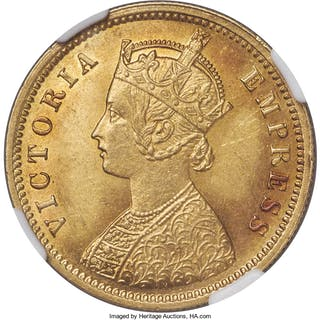 British India. Victoria gold Mohur 1888-(c) MS62 NGC,...