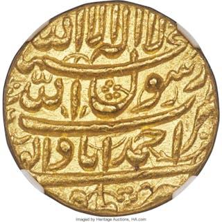 Mughal Empire. Shah Jahan gold Mohur AH 1040 Year 4 (1630/1) MS63 NGC,...