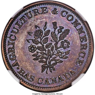 Lower Canada copper Restrike Bouquet Sou Token ND (1837) PR64 Brown NGC,...