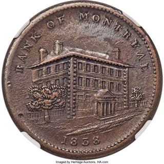 "Lower Canada. Bank of Montreal ""Side View"" Penny Token 1838 AU Details"