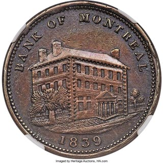 "Lower Canada. Bank of Montreal ""Side View"" Penny Token 1839 AU Details"