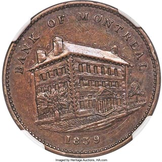 """Lower Canada. Bank of Montreal """"Side View"""" 1/2 Penny Token 1839 AU"""