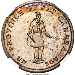 """Lower Canada. Bank of Montreal bronzed Proof """"Habitant"""" 1/2 Penny"""