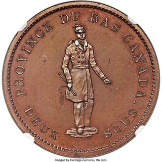 "Lower Canada. Quebec Bank bronzed Proof ""Habitant"" Penny Token 1837"