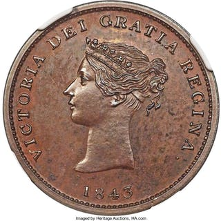 "New Brunswick. Victoria bronzed Proof ""Bust / Ship"" 1/2 Penny Token"